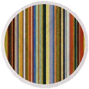 Comfortable Stripes V Round Beach Towel by Michelle Calkins