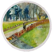 Coming Home From Work, 1982 Wc On Paper Round Beach Towel