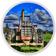 Coming Out Of A Heavy Action Tractor Round Beach Towel