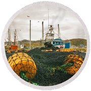 Commercial Fishing In The North Atlantic Round Beach Towel