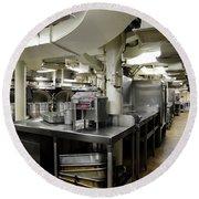 Commercial Kitchen Aboard Battleship Round Beach Towel