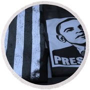 Commercialization Of The President Of The United States In Cyan Round Beach Towel