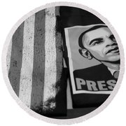 Commercialization Of The President Of The United States Of America In Black And White Round Beach Towel