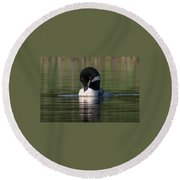 Common Loon Preening Round Beach Towel