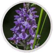 Common Spotted Orchid Round Beach Towel