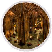 Commons Room Cathedral Of Learning University Of Pittsburgh Round Beach Towel