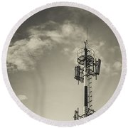 Communication Tower Round Beach Towel