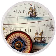 Compass And Old Map With Ships Round Beach Towel