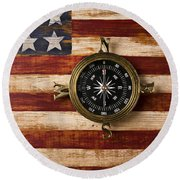 Compass On Wooden Folk Art Flag Round Beach Towel