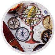 Compasses And Globe Illustration Round Beach Towel