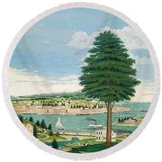 Composite Harbor Scene With Castle Round Beach Towel by Jurgen Frederick Huge