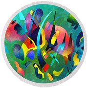 Composition In Blue And Green Round Beach Towel