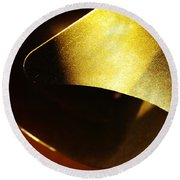 Composition In Gold Round Beach Towel