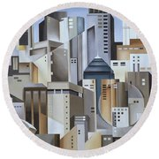Composition Looking East Round Beach Towel by Catherine Abel