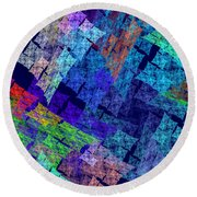 Computer Generated Abstract Julia Fractal Flame Round Beach Towel