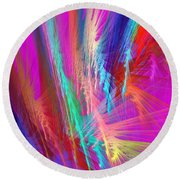 Computer Generated Pink Abstract Fractal Round Beach Towel
