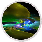 Computer Generated Planet Sphere Abstract Fractal Flame Modern Art Round Beach Towel