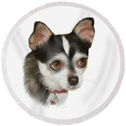 Computer Generated Portrait Of A Dog Round Beach Towel