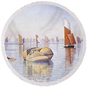 Concarneau   Quiet Morning Round Beach Towel by Paul Signac