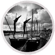 Concarneau Harbour Brittany France Round Beach Towel