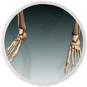 Conceptual Image Of Bones In Human Legs Round Beach Towel