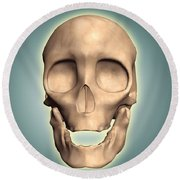 Conceptual Image Of Human Skull, Front Round Beach Towel by Stocktrek Images