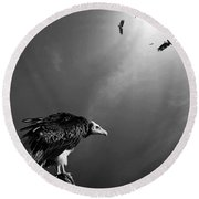 Conceptual - Vultures Awaiting Round Beach Towel by Johan Swanepoel