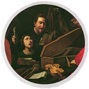 Concert With Musicians And Singers, C.1625 Oil On Canvas Round Beach Towel