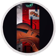 Concerto Of Good And Evil Round Beach Towel