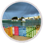 Conch Boats Arriving Round Beach Towel