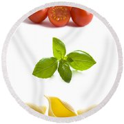 Conchiglioni Pasta Shells Tomatoes And Basil Leaves  Round Beach Towel