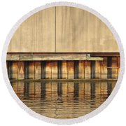 Concrete Wall And Water 1 Round Beach Towel