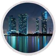 Condominium Buildings In Miami Round Beach Towel