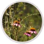 Coneflowers Weeds And Bee Round Beach Towel