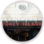 Coney Island Bmt Subway Station Round Beach Towel