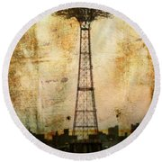 Coney Island Eiffel Tower Round Beach Towel