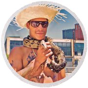 Coney Island Snake Man Round Beach Towel
