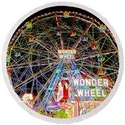 Coney Island's Famous Amusement Park And Wonder Wheel Round Beach Towel