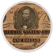 Confederate Dollar Bill Round Beach Towel