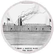 Confederate Ironclad, 1862 Round Beach Towel
