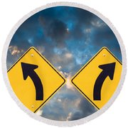 Confusing Road Signs Round Beach Towel