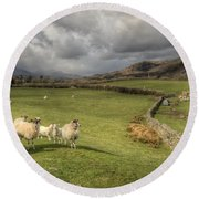Coniston Sheep  Round Beach Towel