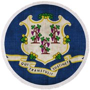 Connecticut State Flag Round Beach Towel by Pixel Chimp