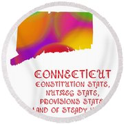 Connecticut State Map Collection 2 Round Beach Towel