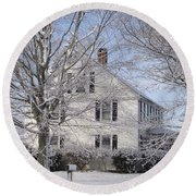 Connecticut Winter Round Beach Towel by Michelle Welles