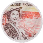 Connecting The Nice France 1860-1960 Round Beach Towel
