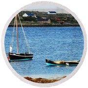 Connemara Boats Round Beach Towel