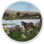 Connemara Ponies Round Beach Towel