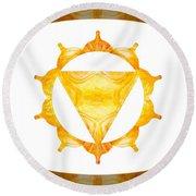 Conscious Spirituality Abstract Chakra Art By Omaste Witkowski Round Beach Towel