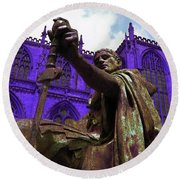 Constantine The Emperor At Yorkminster Round Beach Towel